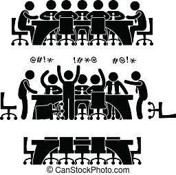 обсуждение, встреча, бизнес, значок