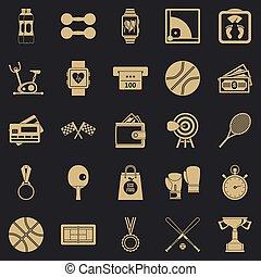 обучение, баскетбол, icons, задавать, стиль, просто