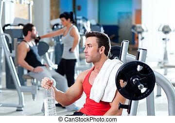 обучение, гимнастический зал, после, фитнес, спорт, расслабленный, человек