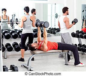обучение, группа, вес, люди, гимнастический зал, фитнес, спорт