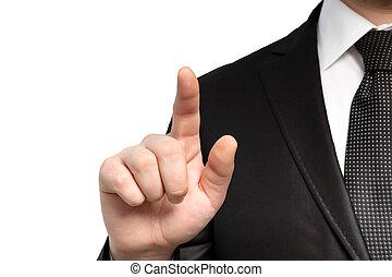 объект, isolated, бизнесмен, points, палец, костюм, галстук