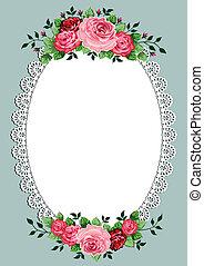 овальный, марочный, рамка, roses