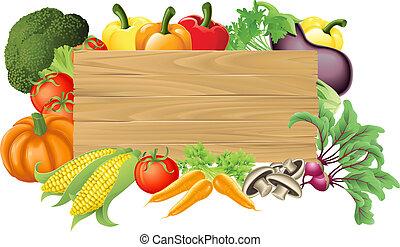 овощной, деревянный, иллюстрация, знак