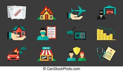огонь, вектор, help., банкротство, щит, личный, безопасность, vehicles, воздух, set., icons, финансовый, медицинская, путь, желтый, insurance., воры, защита, hackers, дом, частный, страхование