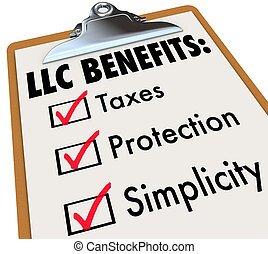 ограниченное, хорошо, benefits, бизнес, простота, защита, корпорация, taxes, characterisitcs, checks, ответственность, список, boxes, буфер обмена, llc, модель, ваш, иллюстрировать