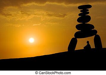 огромный, стресс, лицо, закат солнца, под, медитация