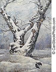 одинокий, дерево, дуб, зима
