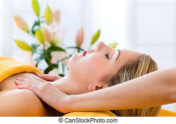оздоровительный, -, получение, массаж, спа, женщина, глава