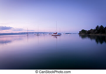 озеро, восход, sailboats