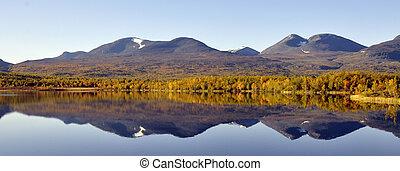 озеро, отражение, спокойный