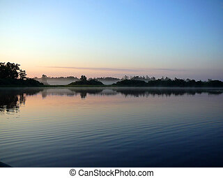 озеро, утро