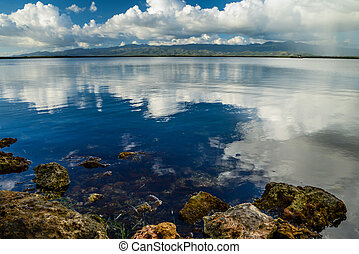 озеро, clouds, отражение, над, воды