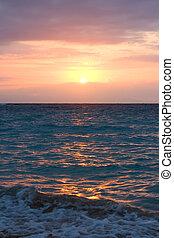 океан, восход, waves