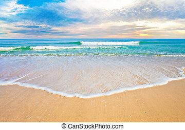 океан, тропический, закат солнца, пляж, или, восход