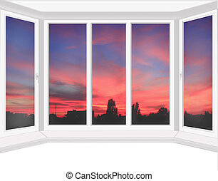 окна, алый, закат солнца, overlooking, пластик