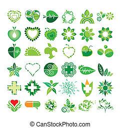 окружающая среда, logos, вектор, здоровье, коллекция