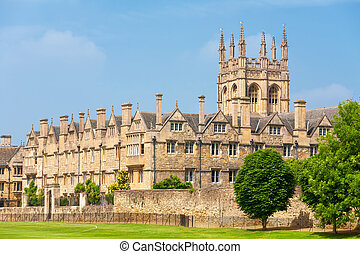 оксфордский, мертон, uk, college.
