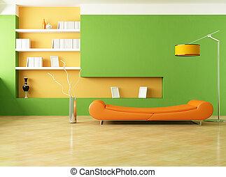 оранжевый, гостиная, зеленый