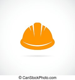 оранжевый, жесткий, шапка, вектор, значок