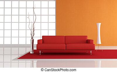 оранжевый, красный, комната, живой