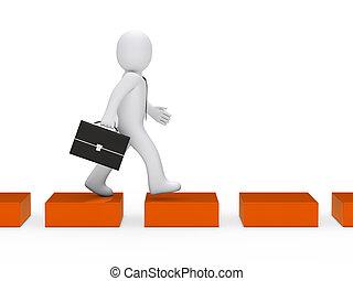 оранжевый, куб, бизнес, путь, человек
