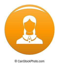 оранжевый, новый, аватар, женский пол, значок
