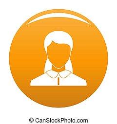 оранжевый, новый, женщина, аватар, значок