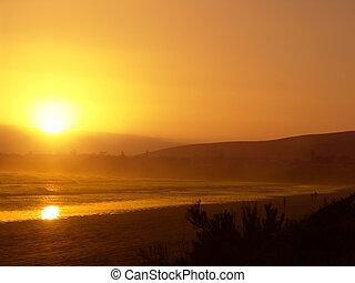 оранжевый, пляж, закат солнца