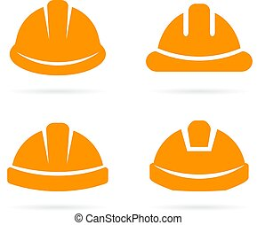 оранжевый, шлем, строитель, безопасность, значок