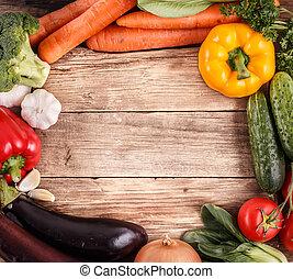 органический, пространство, vegetables, text., food., дерево, задний план