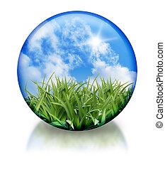 органический, шар, значок, круг, природа