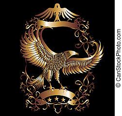 орел, вектор, изобразительное искусство, щит, золото