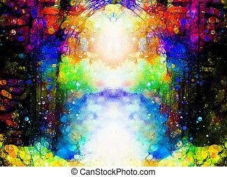 орнаментальный, вход, космический, surroundings., ворота, портал, состав
