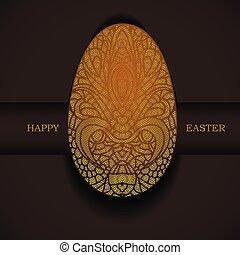 орнаментальный, золотой, greeting., пасха, egg., день отдыха, баннер, счастливый