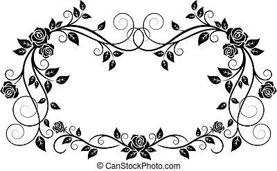 орнаментальный, рамка, цветы, роза