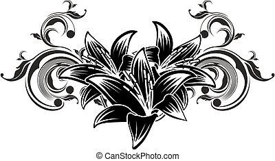 орнаментальный, цветы, дизайн