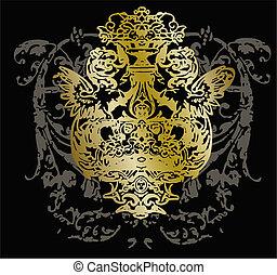 орнамент, племенной, герб, дизайн