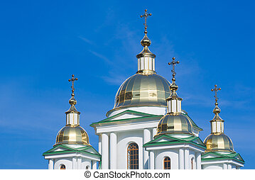 ортодоксальный, новый, церковь, domes, золотой