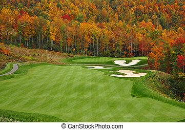 осень, гора, гольф, курс