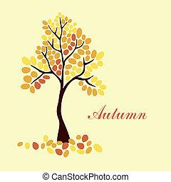 осень, дерево, дизайн, ваш, элемент
