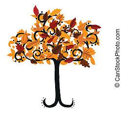 осень, дизайн, дерево, ваш, иллюстрация