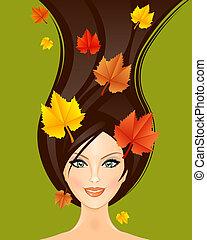 осень, женщина, иллюстрация, вектор