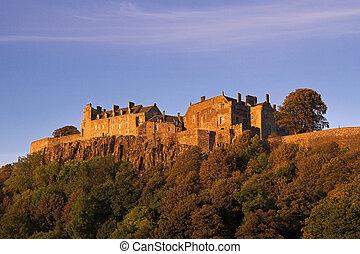 осень, закат солнца, замок, stirling