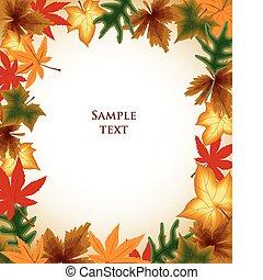 осень, background., leaves, вектор, рамка