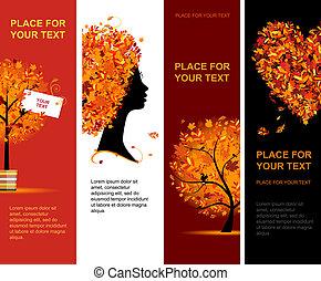 осень, banners, дизайн, ваш, вертикальный