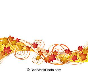 осень, leaves, летающий, задний план