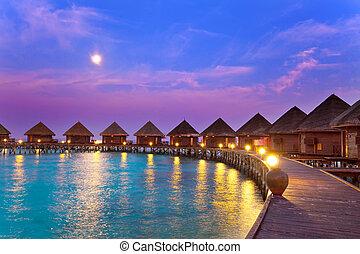 остров, океан, maldives., ночь