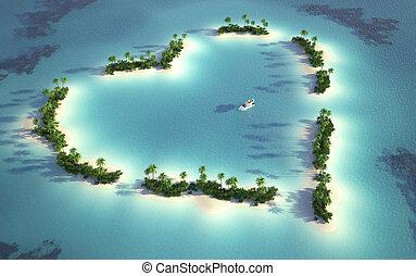 остров, посмотреть, антенна, heart-shaped