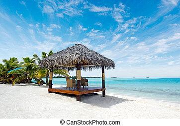 остров, bungalows, тихий океан, тропический, пляж