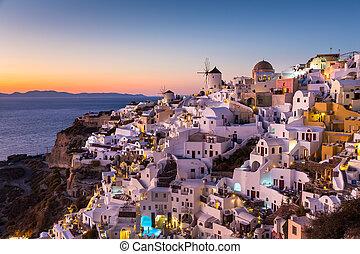 остров, oia, santorini, деревня, greece., закат солнца